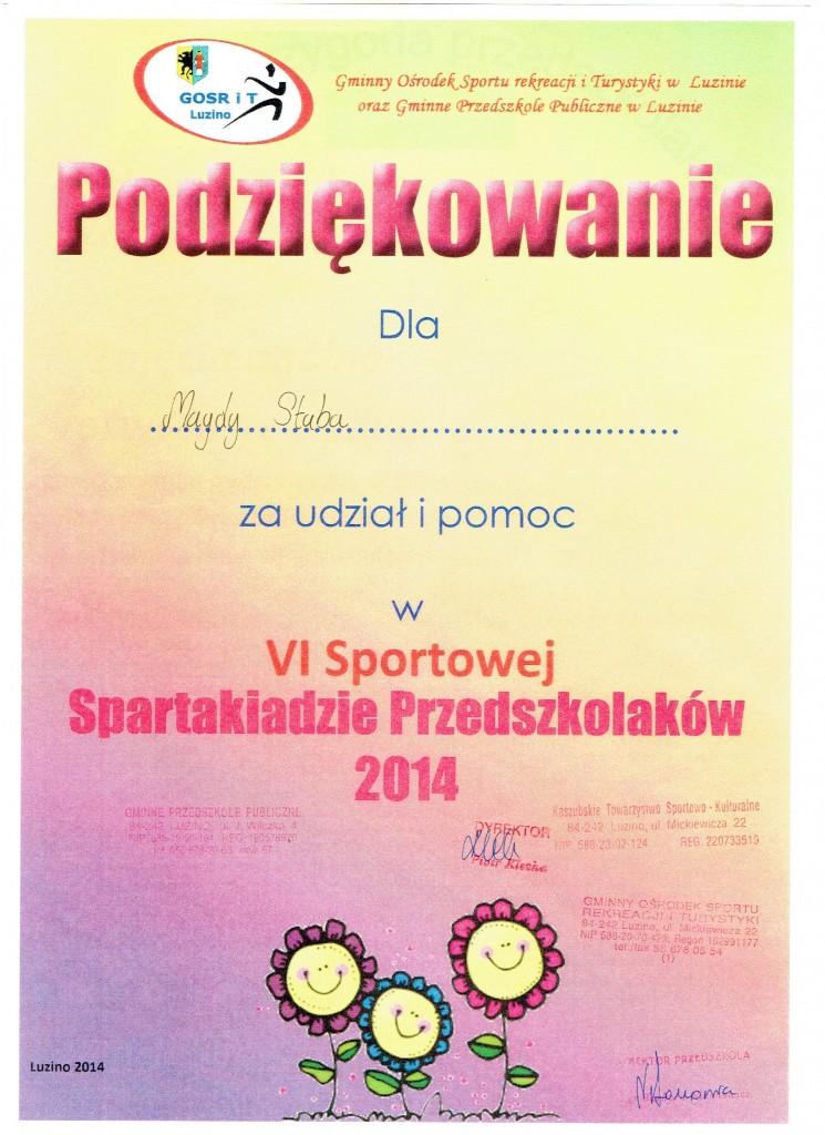 podziękowanie spartakiada2014